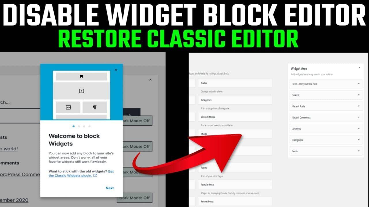 How To Disable Widget Block Editor In Wordpress